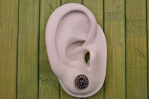 Boucles d'oreilles plaqué argent avec améthyste Ø 11 mm