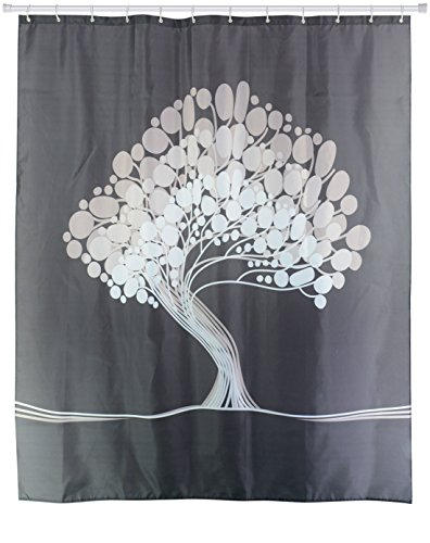 Goodbath Bathroom Tree of Life Polyester Fabric Shower Curtains Liner, 72 X 72 Inch, Black Grey and White