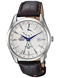 Orient Men's 'Polaris GMT' Japanese Automatic Stainless Steel and Leather Dress Watch, Color:Brown (Model: FDJ05003W0)