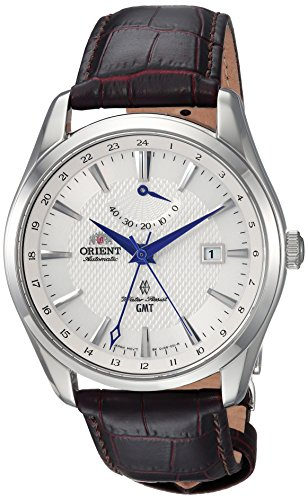 Orient Men's Polaris GMT Stainless Steel Japanese-Automatic Watch with Leather Strap, Brown, 21 (Model: FDJ05003W0)