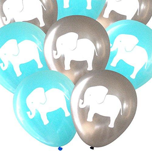 Elephant balloons (16 pcs) by Nerdy Words (Grey & (Aqua Zoo)