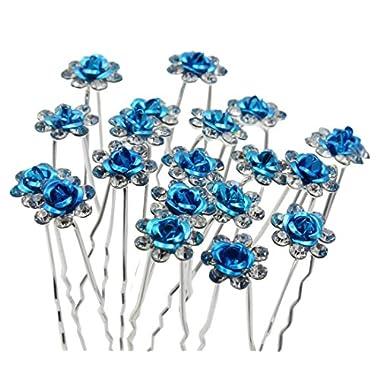 20pcs Rose Flower Wedding Party Bridal Diamante Hair Pins (Blue)