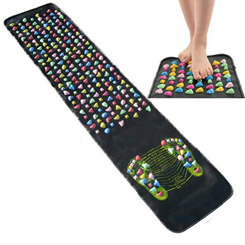 Enshey Foot Massage Mat-Reflexology Walk Stone Pain Relieve Acupoint Mat Acupressure 175CM*35CM (Thai Mat Massage Shiatsu)