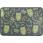 Starotor Non-Slip Door Mat Home Decor, Vintage Cute Green Owl Durable Indoor Outdoor Entrance Doormat 23.6 X 15.7 Inches