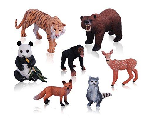 Plush Animal Miniature (Ericoo Animal Toys Set Educational Resource High Simulation Jungle Animals Figures with CPC Approval and ASTM Test-Anim001)