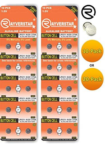 Rayverstar LR521 AG0 1.5V Alkaline (20-Batteries) Fits: 179, 379, SR63, JA, RW327, 618 (Full List Below)