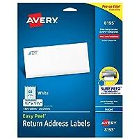 """Etiquetas con dirección de retorno de Avery con alimentación segura para impresoras de inyección de tinta, 2/3 """"x 1-3 /4"""", 1,500 etiquetas, adhesivo permanente (8195)"""