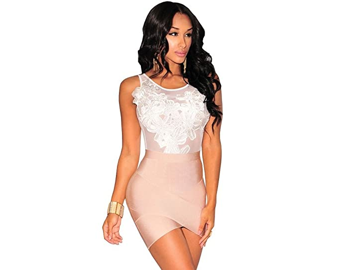 Body Blanco Floreado Vestidos Ropa a la Moda para Mujer De Fiesta y Noche Elegante Casuales VE0031 at Amazon Womens Clothing store: