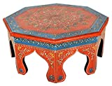 Lalhaveli Traditional Handpainted Work Design Round Wooden Bajot Table 14 X 14 X 6 Inches For Sale