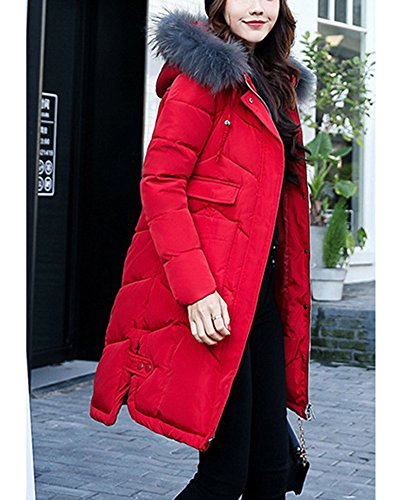 Womens Cotton Red Long Jacket Big Hooded Feel Collar Clothing Down Coat 44r7vq18