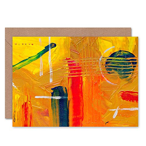 Fine Art Prints Abstract Expressionism Painting Guitar Greeting Card with Envelope Inside Premium Quality