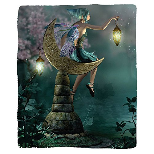 Kisscase Custom Blanket Fantasy Little Pixie with Lantern Sitting on Moon Stone Fairytale Myth Kitsch Artwork Bedroom Living Room Dorm Gold Teal Lilac