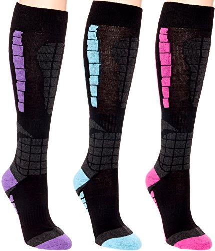 10 Ski Boot Easy Move - 3 Pack Women's Ski Socks - Over The Calf Snow Socks for Snowboarding, Skiing By LISH (Multi, L/XL)
