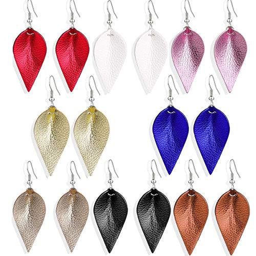 MissDaisy 8 Pairs Leather Earrings Set Women Girls Teardrop Drop Dangle Leaf Lightweight Antique Fashion Earrings