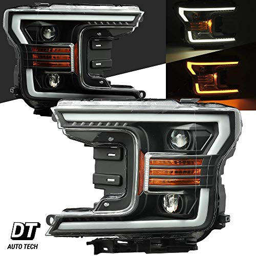 Headlamps Assembly LED Sequential Switchback Turn Signal+DRL For 2018-2019 Ford F-150 F150 (Black projector with Sequential Amber Turn Signal) ()