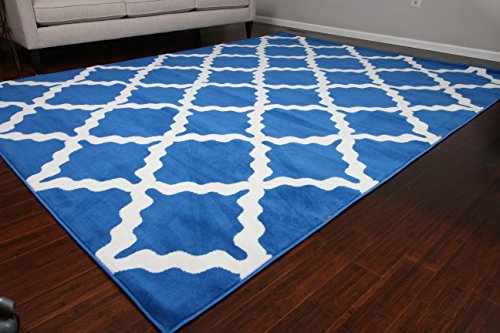 Generations Contemporary Pattern Modern Area Rug, 8' x 10.2', Navy Blue/White