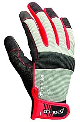 Apollo Performance Gloves Work Glove, Mechanics Glove with Synthetic Leather Palm, Waterproof Thinsulate Liner (40 g), Gray/Black