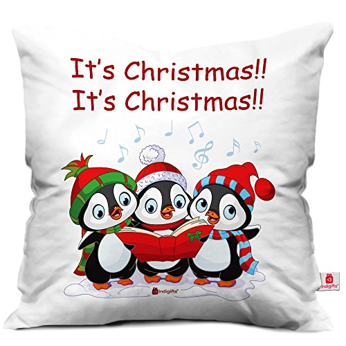 indibni It's Christmas Quote Trio of Cute Baby Penguins Singing Christmas Carol White 18
