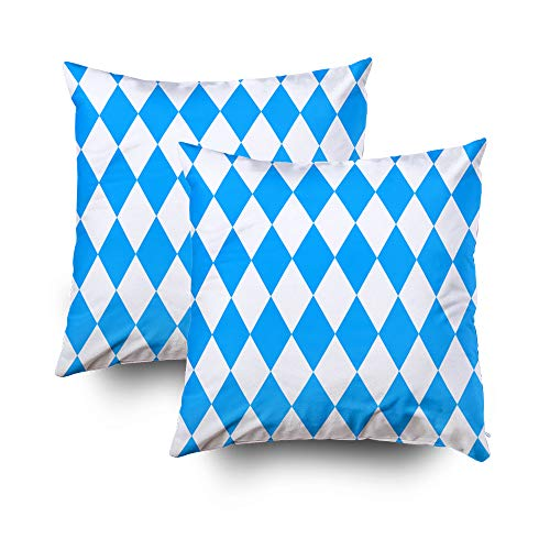 Shorping Pillow Covers,18x18Inch Pack 2 Decorative Pillowcase for Home Décor Cusion Covers Seamless Wallpaper Bavarian Oktoberfest Flag