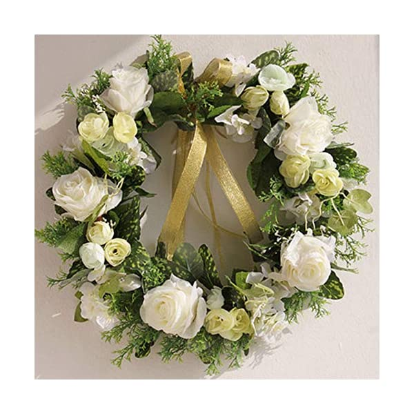 YBZS Spring Flower Wreath,35Cm Simulation Crepe Rose Hydrangea Handmade Wreath,for Front Door Wall Window Party