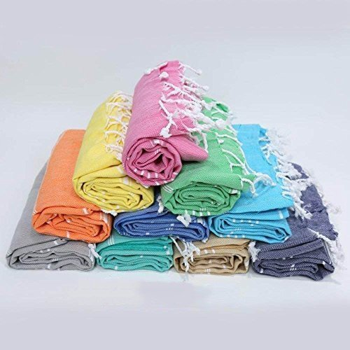 LaModaHome (Set of 4 Hand Face Turkish Pestemal Fouta Kitchen Baby Care Towel, 15.5 x 31.5, Random Color