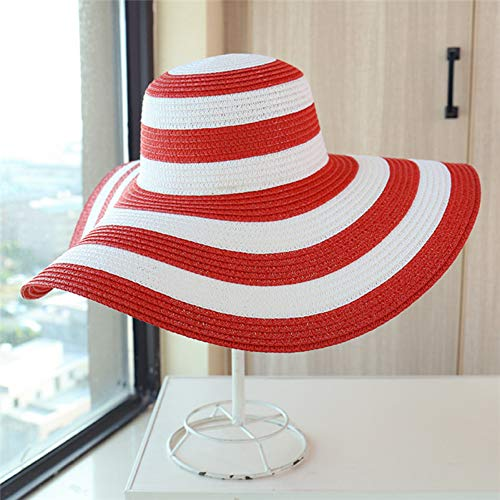 (LKJHG L Hat Summer Female Sun Hats Visor Hat Big Brim Classic Black White Striped Straw Hat Casual Outdoor Beach Caps for Women)