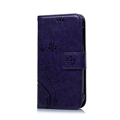 Generic Wallet Credit Card Phone Case with Magnetic Flip TPU Leather Cover for iPhone SE Purple by Generic