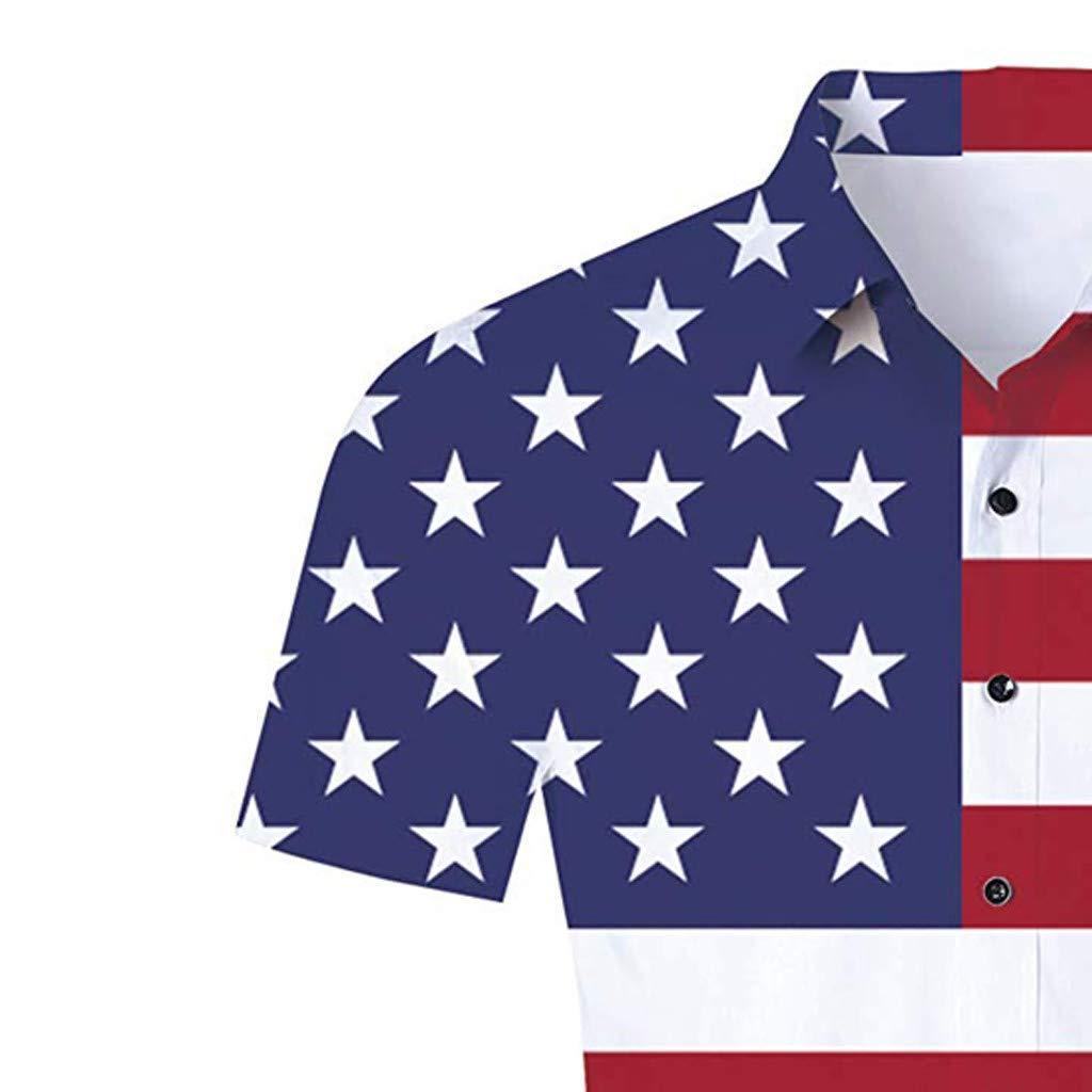 Amiley Mens American Flag Button Down Shirt Short Sleeve Stars Stripes Patriotic Tee Men Short Sleeve T Shirts Summer