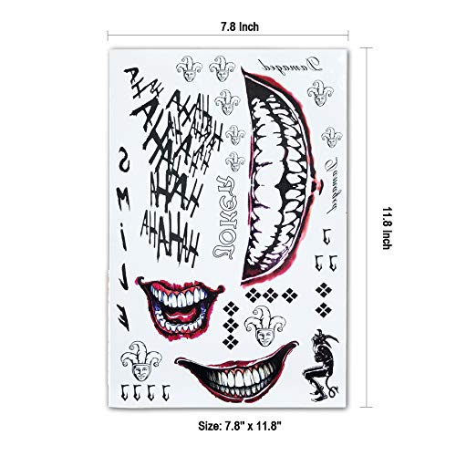 8ee3edb52 Leoars 4 Sheets Large Temporary Tattoos Full Body Bundle Suicide Squad  Harley Quinn Joker Cosplay Temporary Tattoo Sticker Costume Cosplay Party  Accessories
