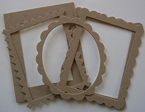 {5} FRAME VARIETY - Bare Picture Frame Chipboard Die Cuts - 1 of Each Design - Design Chipboard Picture Frame