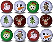 GBM GOLF BALL MANUFACTURERS Christmas Variety 12 Pack - Christmas Tree, Elf, Gingerbread Man, Snowman, Santa, and Reindeer Novelty Imprints.