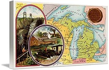 Amazon Com Imagekind Wall Art Print Entitled Vintage Michigan Map