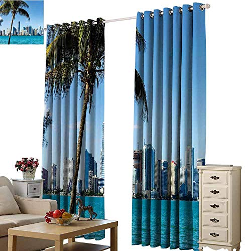 Curtains for Living Room Coastal Miami Downtown with Biscayne Bay Buildings and Palm Tree Panoramic Art Sky Blue Aqua Green Bedroom Living Room Bay Window W84 x H72 -