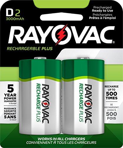 Rayovac Rechargeable Nimh Aa Batteries (RAYOVAC D 2-Pack RECHARGEABLE PLUS Batteries, PL713-2 GENE)