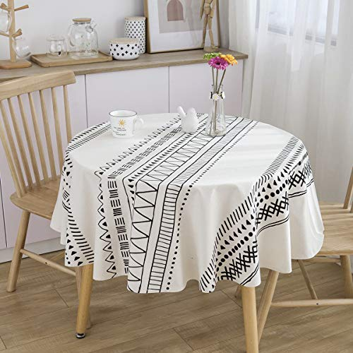 ICBAL White Round Tablecloth Heavy Fabric Waterproof Cotton Linen Table Cloth Kitchen Dining Coffee Farm Table Décor for Parties 60 inch(4-6 Seats)