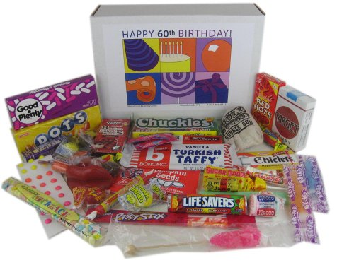 60th Birthday Gift Basket Box Of Retro Candy