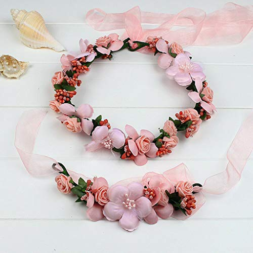 Women Flower Wedding Hair Headbands Crown Vine Wreath Garland Wrist Band Set (Color - Pink 01)