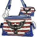 Western Rhinestone American Flag Eagle concealed weapon handbag and wallet set