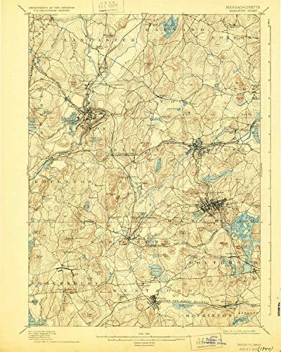 (YellowMaps Marlboro MA topo map, 1:62500 Scale, 15 X 15 Minute, Historical, 1898, Updated 1929, 19.7 x 15.8 in - Tyvek)
