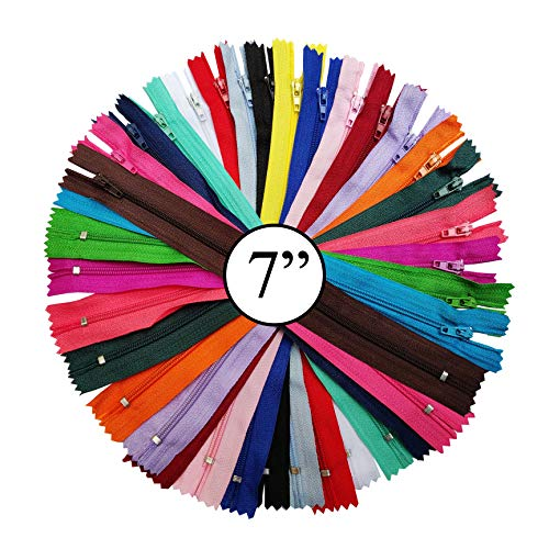 - KGS Nylon Zippers | Colorful Zippers for Sewing Crafts | 20 pcs/Pack (7 Inch)