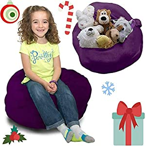 Stuffed Animal Storage Bag – Doubles As a Comfy Seat. Replace Your Mesh Toy Hammock or Net with This Plush Organizer That is Decorative, Functional and Fun.