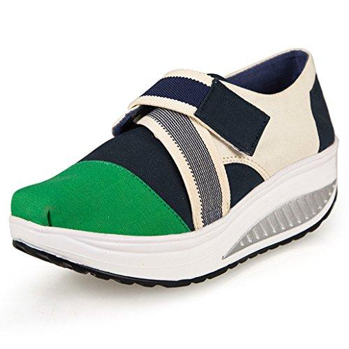 Eagsouni Damen Sneaker Klassiker Keil Plateau Freizeitschuhe Segeltuch Schuhe Grün