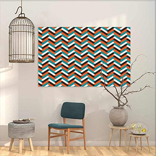 (Pattern Oil Painting Art Sticker Mid Century Herringbone Pattern in Retro Colors Simple Funky Design of Classic Mosaic Tile A for Your Relatives and Friends Multicolor W47 xL31)