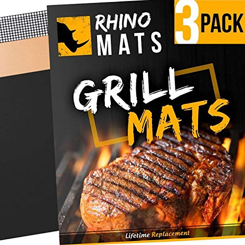 BBQ Grill Mats (Set of 3) Copper, Black & Mesh | LIFETIME Replacement | Heavy Duty 600 Degree Non-Stick Mats | Mesh for Smoke Flavors & Gas Grills | 15.75 x 13 | Best Rated Grill Pad FDA Gold Approved by Ships Today