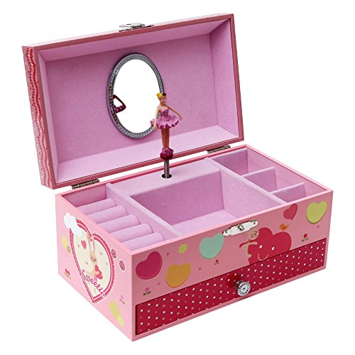 SONGMICS Ballerina Music Jewelry Box for Little Girls, Swan Lake Tune Pink UJMC002