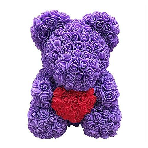 (Romantic Rose Bear Animal Teddy Cub Bear Forever Rose Flower Hug Bear Pe Foam Artificial Simulated Flower for Anniversary, Christmas, White Valentines Gift)