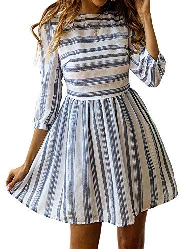 BTFBM Women Summer Dresses Casual Striped Half Sleeve A Line Short Dress (Navy Striped, Large)