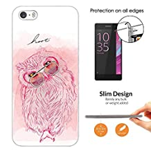 003828 - Cute Pink Owl Glasses Hoot Drawing Design iphone 4 4S Fashion Trend CASE Ultra Slim Light Plastic 0.3MM All Edges Protection Case Cover-Clear