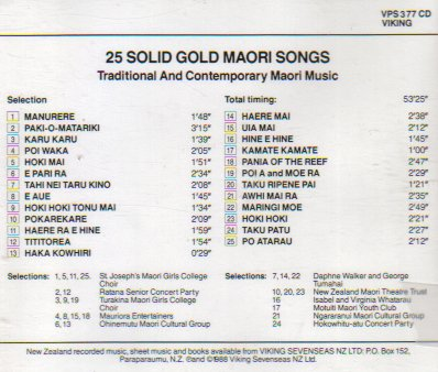 25 Solid Gold Maori Songs: Traditional and Contemporary Maori Music