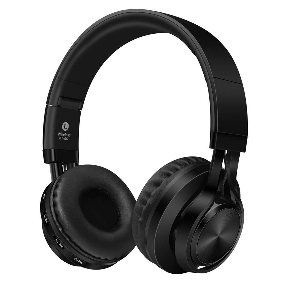 Headphone ワイヤレスヘッドフォン、ワイヤレスステレオブルートゥース、ワイヤレスミュージックストリーミング、TFカートスロット、ポータブル、ブルートゥースヘッドセットヘッドセット、スマートボイス、 (Color : Black)   B07R1942SK